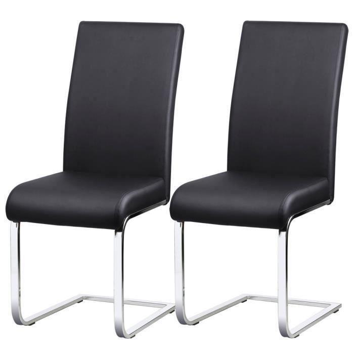 Lot de 2 Chaises pour Salle à Manger - en Similicuir noir - Capacité ...