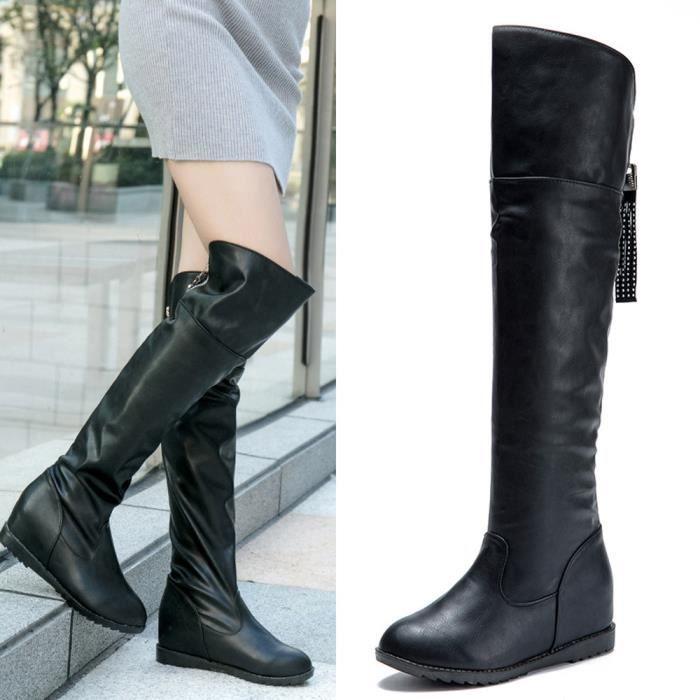 2cbd2adf5ac95 Napoulen®Hiver botte cuissardes haute sur la genou augmenté talons plats  pour femmes Noir-YJJ71012381BK