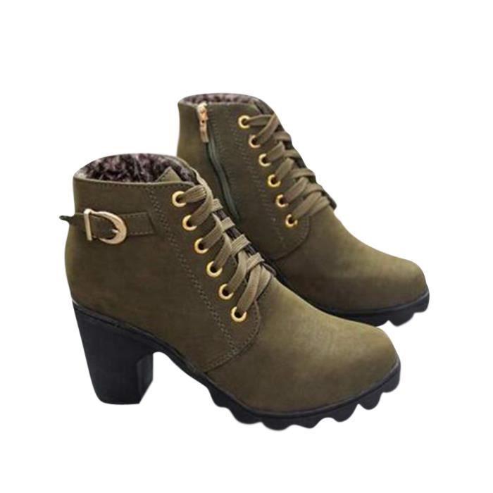 Bottine Femme Automne Hiver Haute Qualité High-heeled bottillons WYS-XZ016Vert39