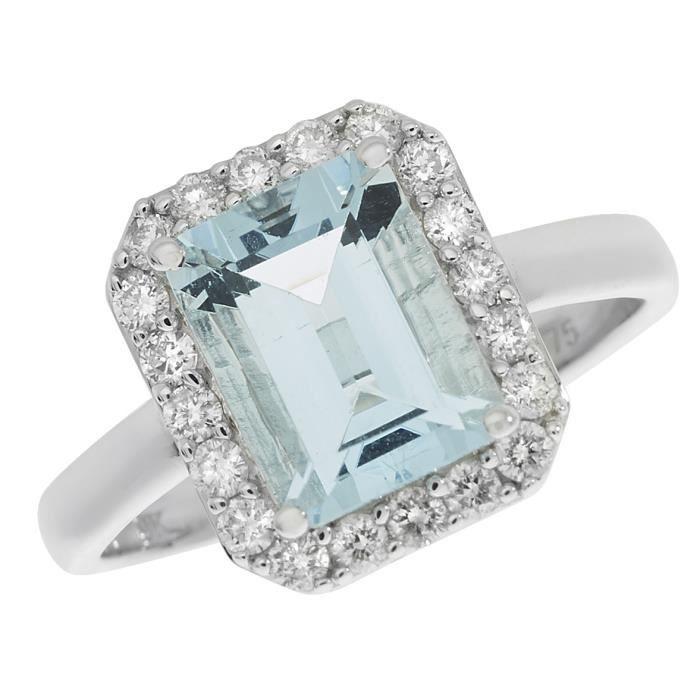 Bague Femme Pavage Or Blanc 375-1000 et Diamant Brillant 0.37 Carat HI - I1 avec Topaze Bleu 30352