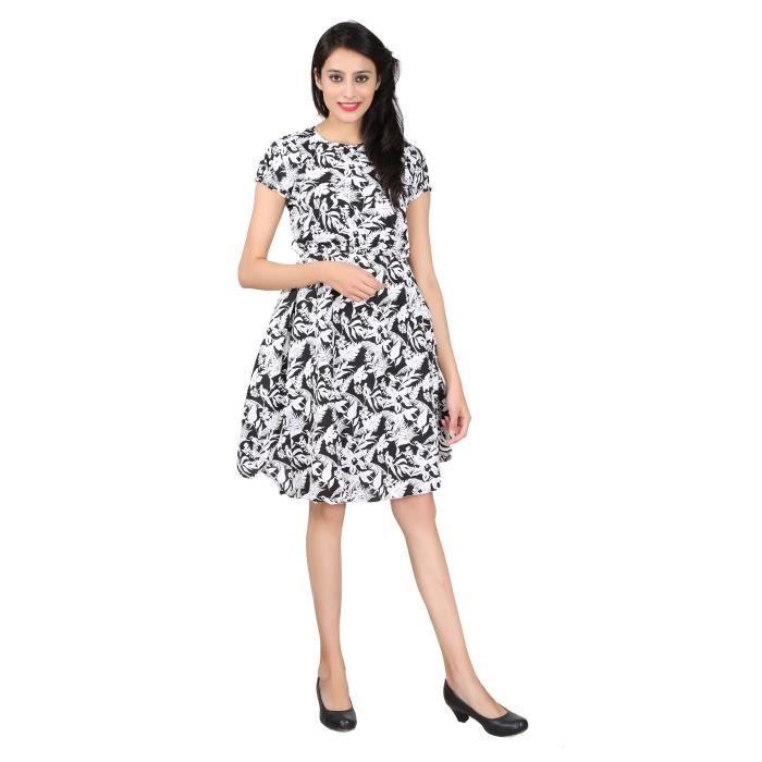 Femmes Noir Floral Robe imprimée Crêpe 1QMC6N Taille-34