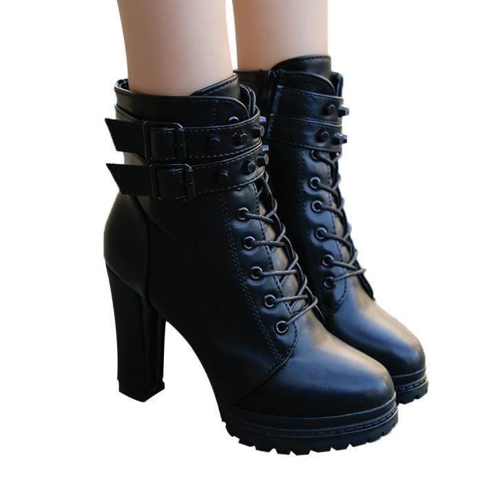en Martain à Botte rond Femmes solide talon lacets bout à Chaussures Noir à cuir couleur Chaussures 5RAqc34SjL