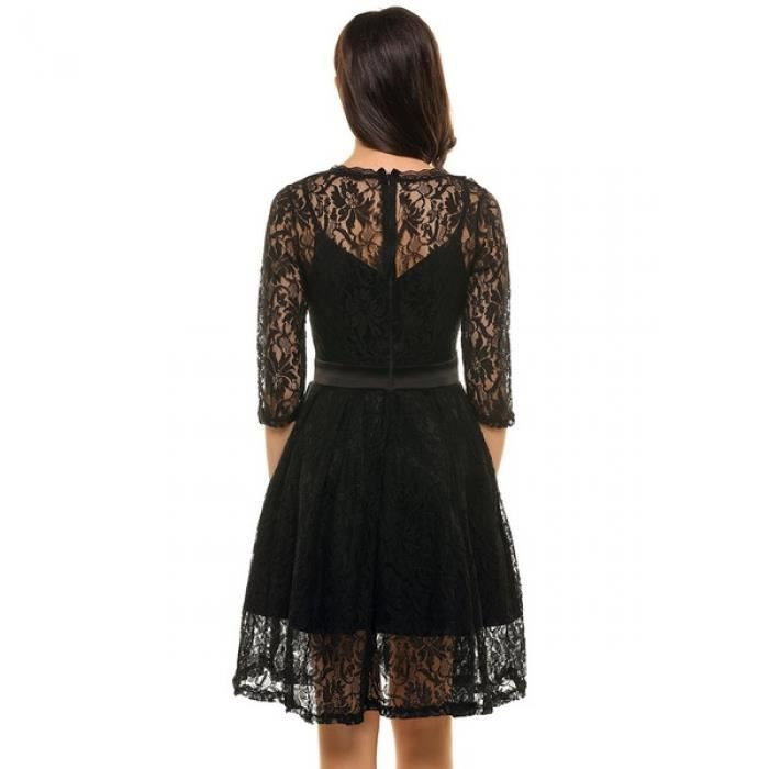 Robe Femme occasionnelle manches 3-4 dentelle Patchwork Zip O cou taille haute Swing Tunique