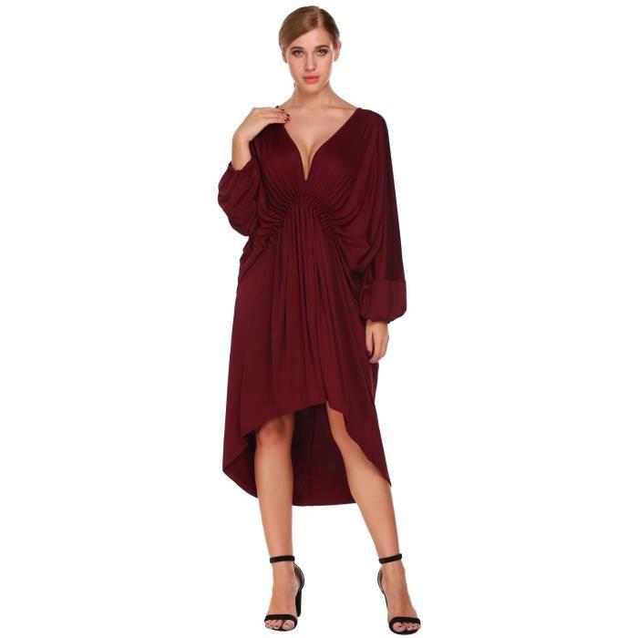 Robe femme à manches longues V-cou drapée lâche en vrac