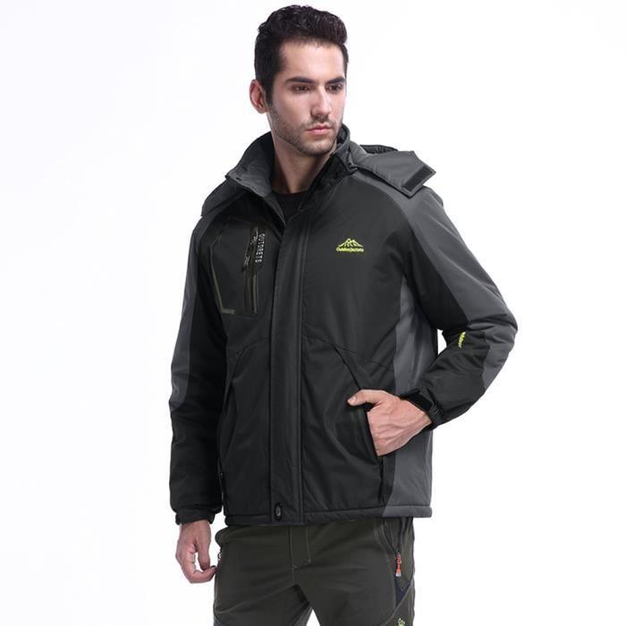 À Épaississement Outdoor Manteau Cachemire D'hiver Noir Capuche Sport Zipper Assault Hommes D'extérieur a4ZqwU7