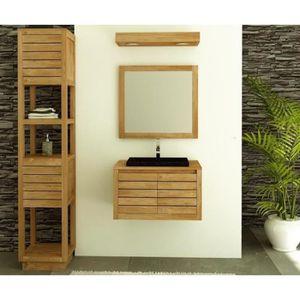 meuble vasque plan meuble de salle de bain molene 70cm en teck - Meuble Salle De Bain Teck Suspendu