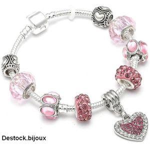 BRACELET - GOURMETTE 19 cm Bracelet Style Pandora Charm Coeur Argent 92