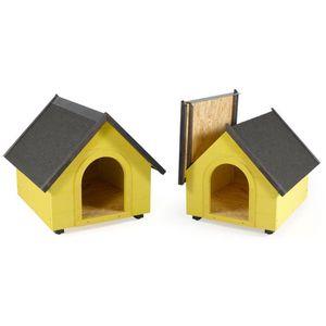 NICHE Niche en bois pour chien toit pointu taille L jaun