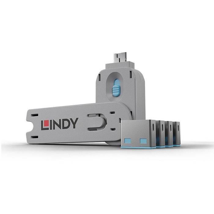 LINDY Clé USB et 4 bloqueurs de ports USB - Bleu