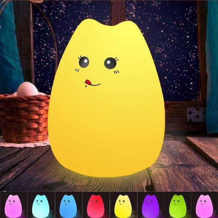 Portable LedDe Veilleuse Multicolore Bébé Rechargeable Souple Nuit Usb Lampe Chevet Silicone Enfants Chat Animal 5L3qSc4ARj