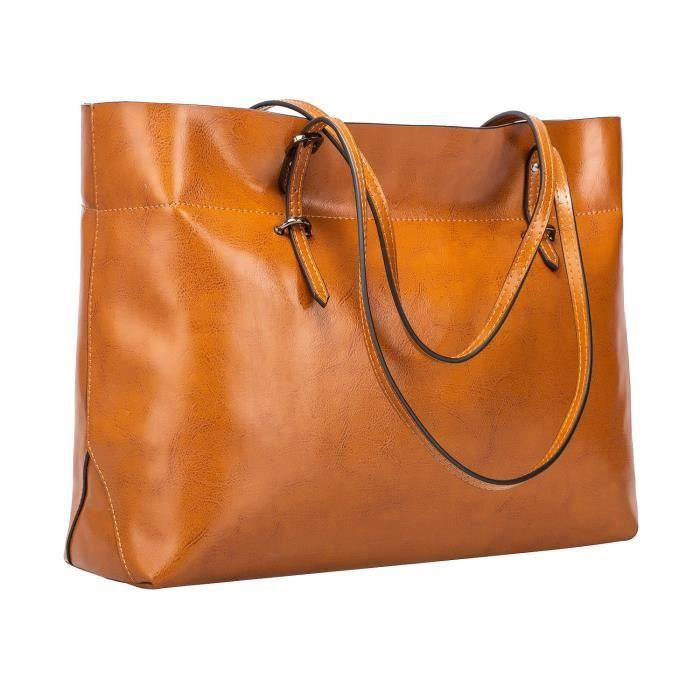 Fourre-tout en cuir véritable vintage sac à main Version améliorée BF4A5
