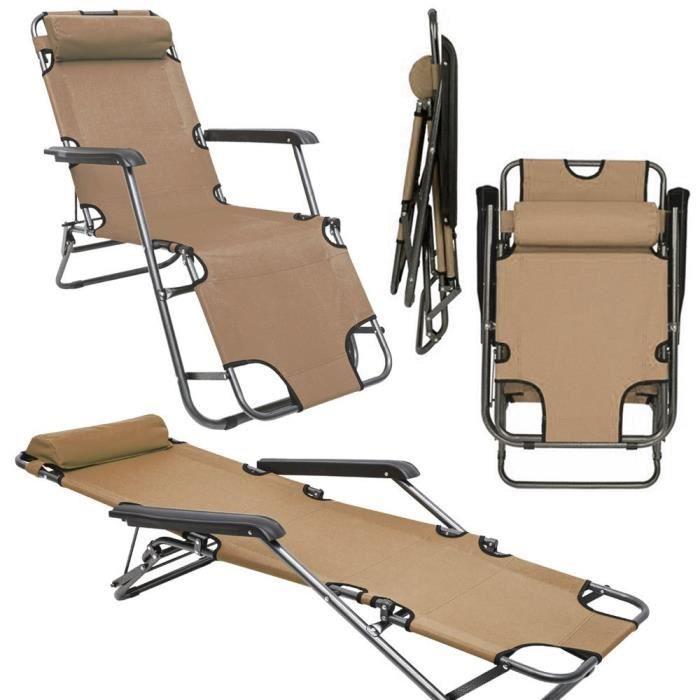 Chaise longue inclinable et pliante transat de jardin - Chaise longue de camping pliante ...