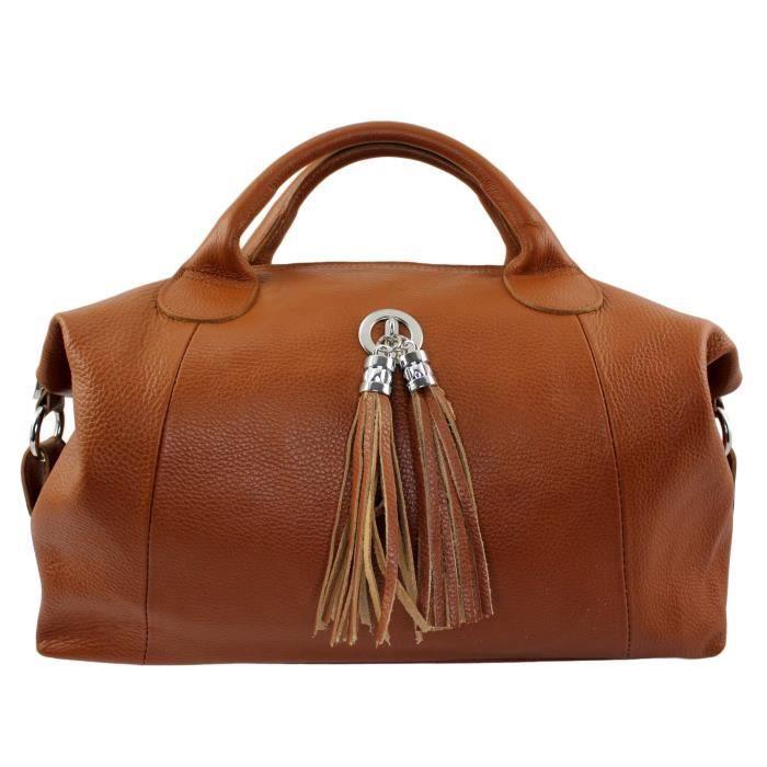 magasin en ligne 863cd 8df23 Sac à main cuir Roma Italie - Couleur:Camel Fonc