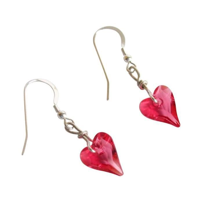 Gemshine - Femmes - Coeur - Boucles doreilles - 925 argent - Wild Heart - * Indien * Rose - Rose - de SWAROVSKI ELEMENTS® - 2 cm