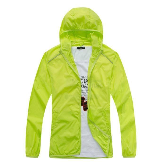 Veste coupe-vent léger à capuche Manteau des femmes Vert - Achat / Vente poncho sport - Cdiscount