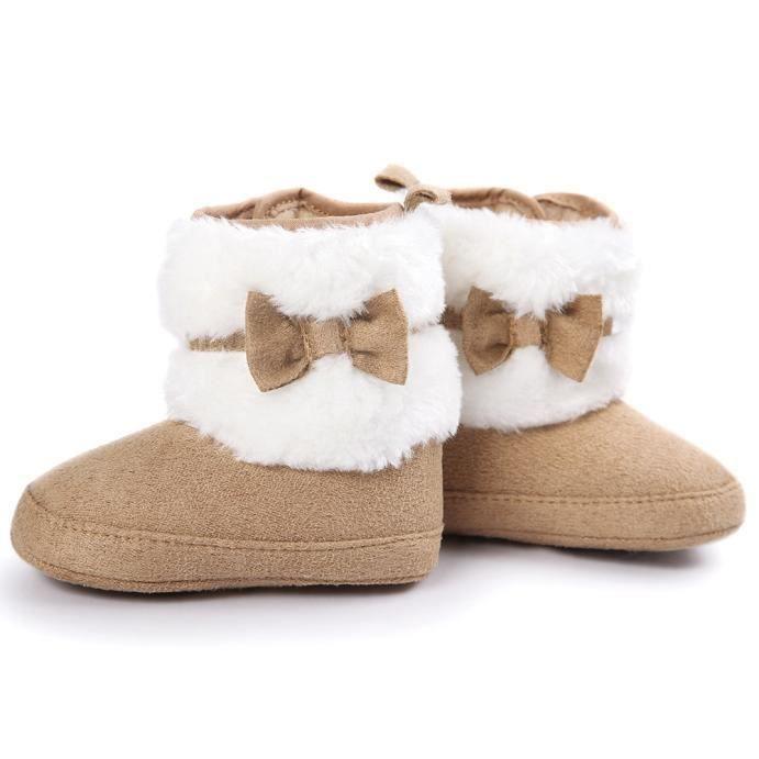 Bébé enfant bowknot garder au chaud doux Sole Bottes de neige molle Berceau Bottes Chaussureskaki