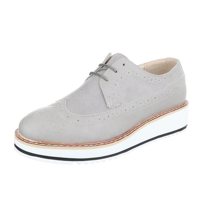 Femme chaussures flâneurs lacer gris 41
