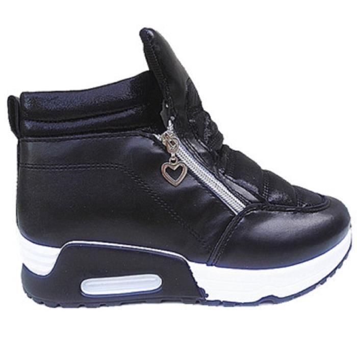 Fashionfolie888 - Femme Basket compensées montante chaussure fille lacet sport mode chic WB-550 NOIR