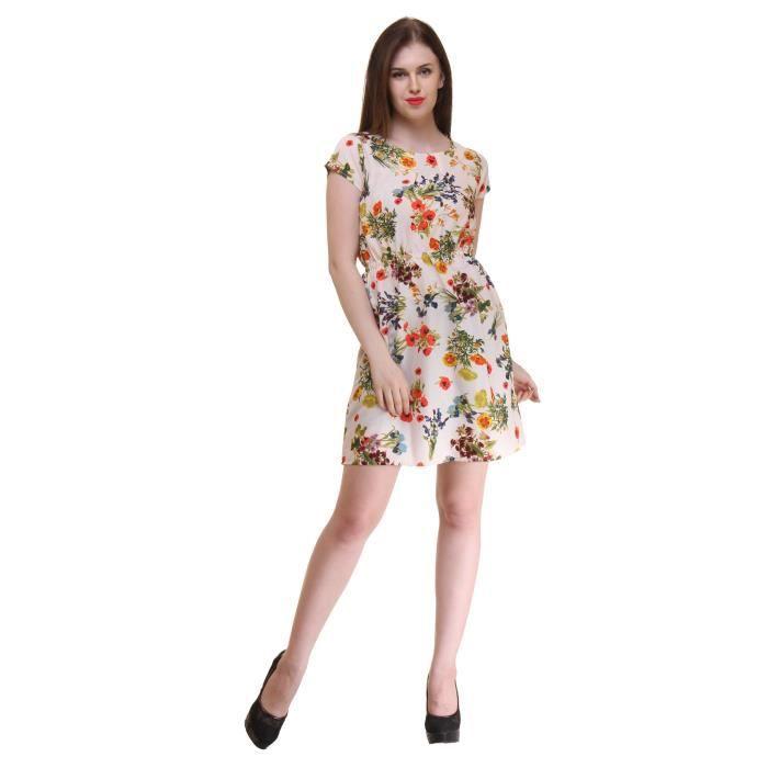 Femmes Beige Crêpe couleur florale robe longueur genou imprimé (ru_5183) ZS787 Taille-38