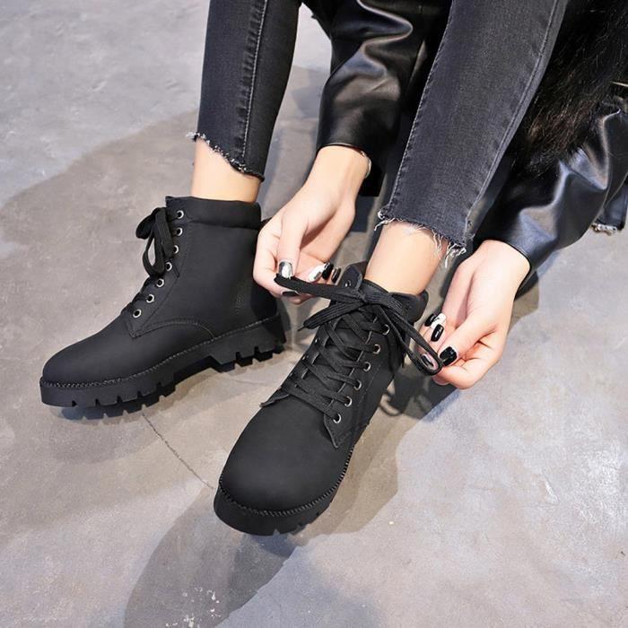 7d06d7168b98 Femmes Frandmuke3851 Flat À Cheville Chaussures Lacets Short Martin It7Pwv