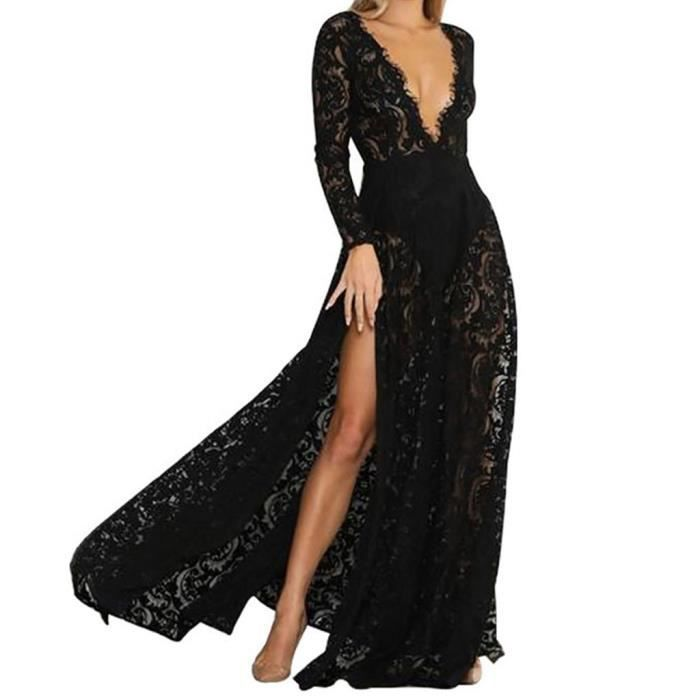 27c06459ce4af9 Femmes Robe longue dentelle Maxi Robe sexy élégant Longueur étage robe de  soirée robe de bal @Noir