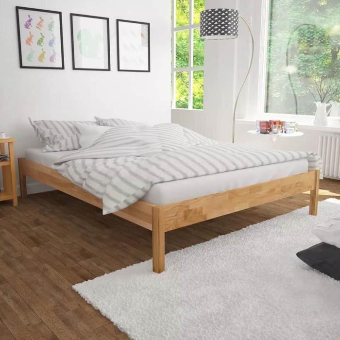 Lit double avec matelas Adulte enfant Structure cadre de lit meuble chambre  dormir comtemporain Chêne massif 140 x 200 cm
