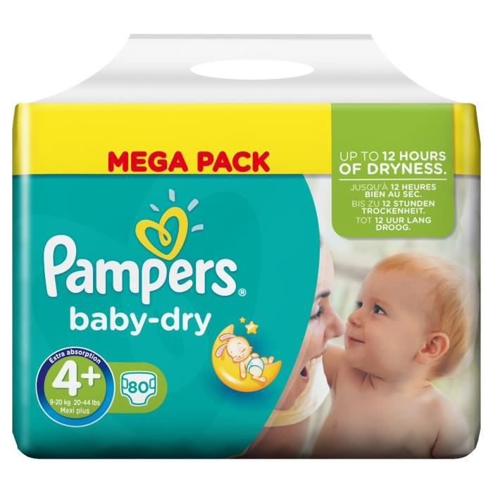Pampers Baby Dry Taille 4 9 A 20 Kg 80 Couches Vert Blanc Achat