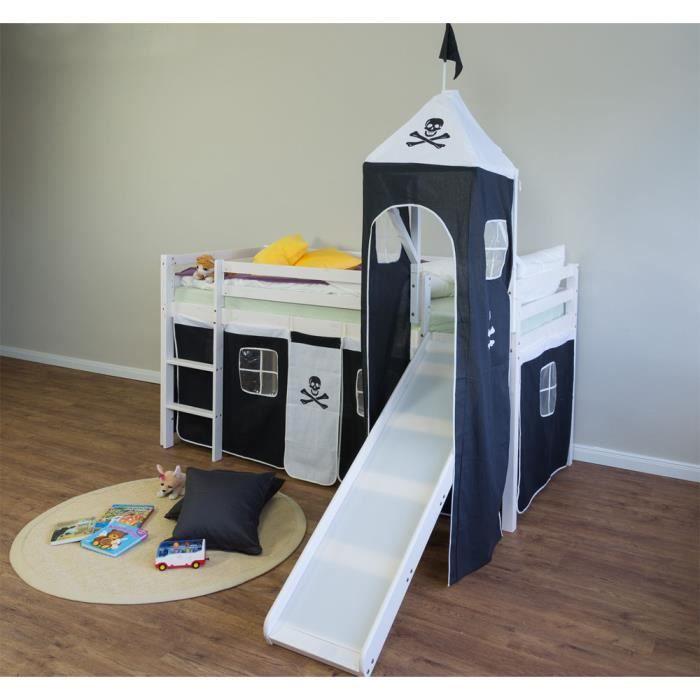 Lit Enfant Superpose En Pin Massif Avec Toboggan Tour Et Echelle Et Rideaux Noir Blanc