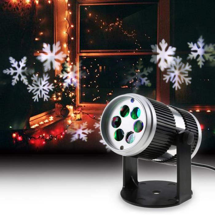 4W 4LED Projecteur Film Motif lumineux Lampe de décoration Actif sonore Flocon de neige Mobile Spotlight pour fête