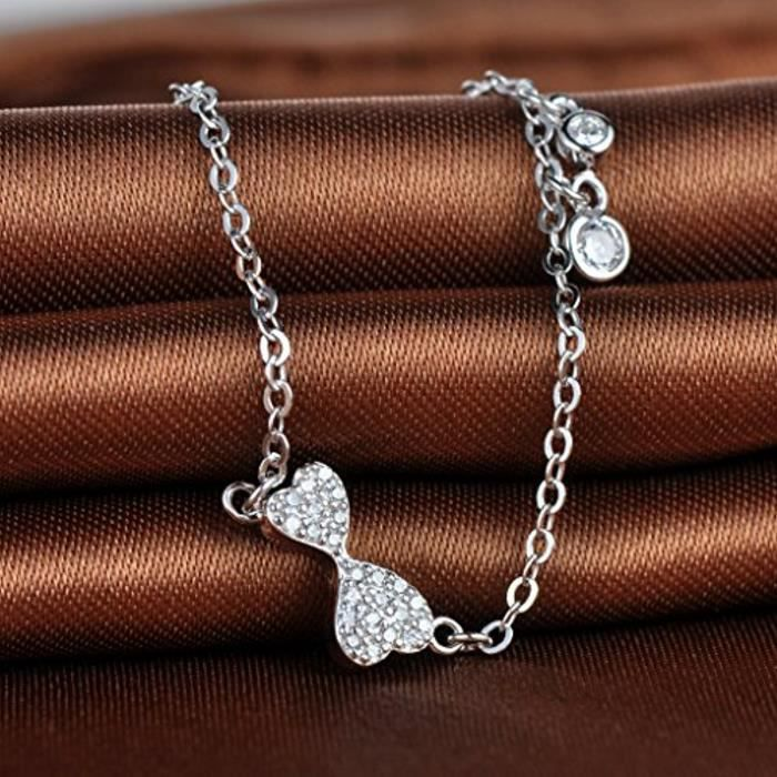 Bracelet Deux Cœurs Communicants Le Signe Immense À La Mode Argent Fin 925 Orné De Zirconium Bijou Blanc DArgent Élégant Femme