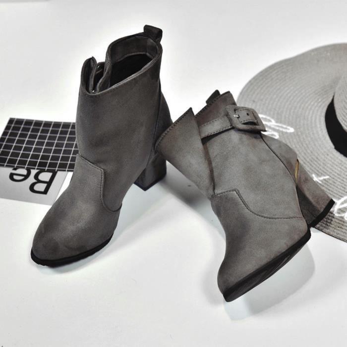 Femmes Boucle Dames Ceinture Faux Chaud Bottes Bottines Talons hauts Martin Chaussures XMM71109531_1001