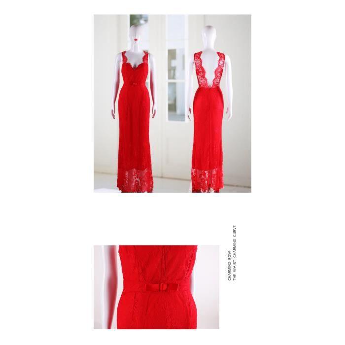 Robe de soirée de cocktail longue traîne dentelle Rouge sirène col V profond dos nu princesse haute couture élégante grande taille