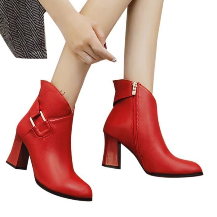 Martin Round Talon Haut Épais Bottes Toe Métal Zip Femmes Mode 8649 Cheville Shoes Veberge qwngzax8x
