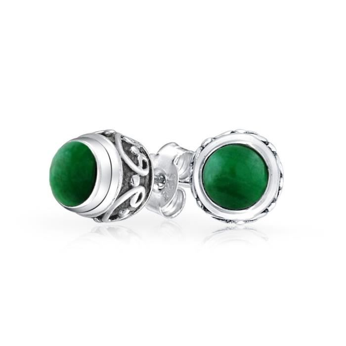 Bling Jewelry Sterling Argent Pierre Malachite synthétique boucles doreilles Bali