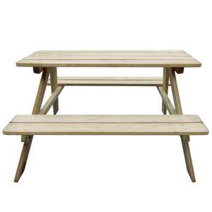 SALON DE JARDIN  Magnifique Table de pique-nique en bois pour enfan