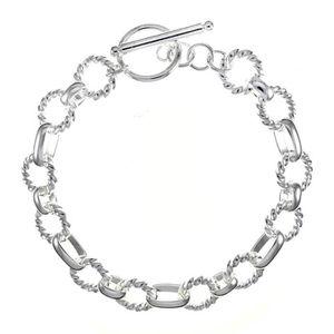 BRACELET - GOURMETTE Bracelet chaîne et gourmette Argenté argent sterli