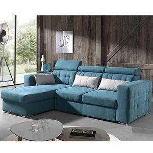 CANAPÉ - SOFA - DIVAN Canapé d'angle convertible bleu en tissu CLEVELAND
