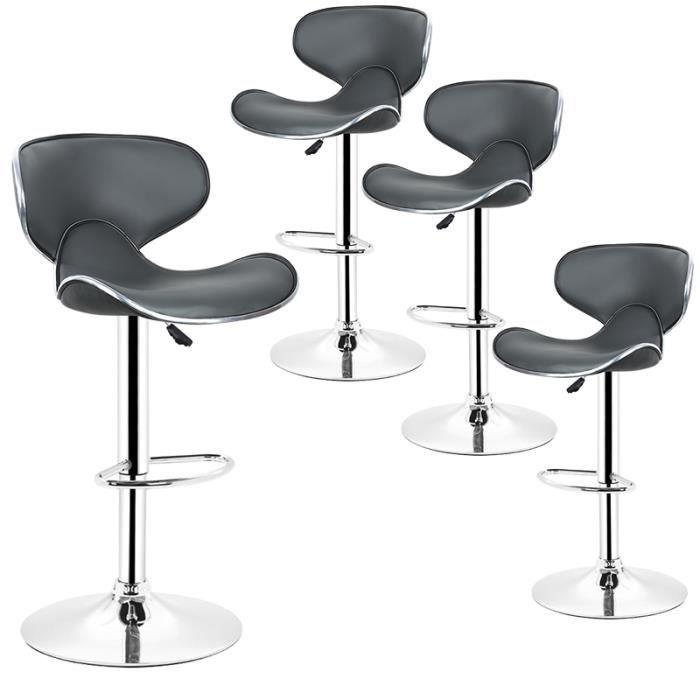 Synthétique Gris 4 Revêtement Tabourets Lounge Haute Lot Avec Dossier Chaise De Design Réglable Bar ZwXiklOPuT