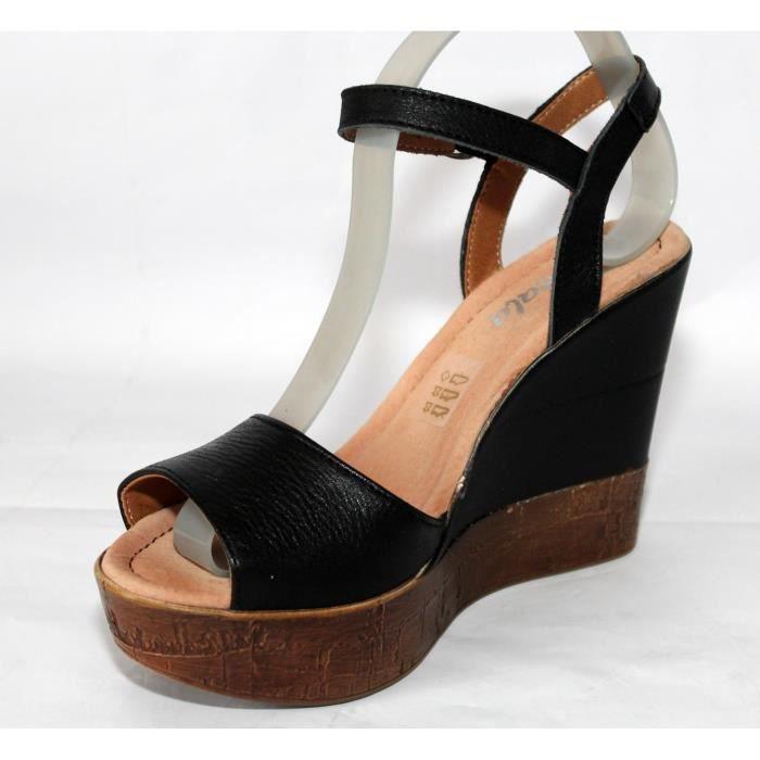 Sandales Noir T Femme Cuir 37 Achat Chaussures Neuves Mode FTlJ3Kc1