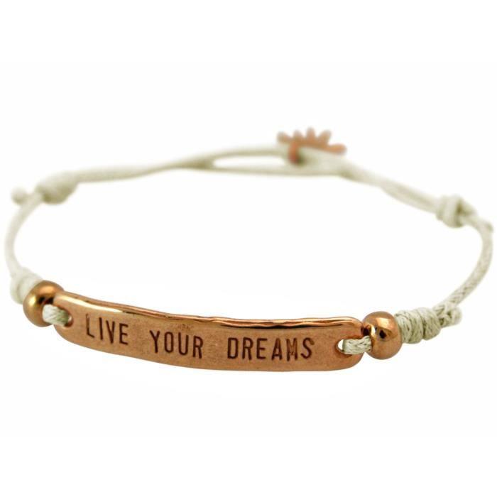dames Gemshine bracelet noeud gravé VIVEZ VOTRE RÊVE en plaqué or rose. Taille réglable cordon beige et breloque main - Fait à