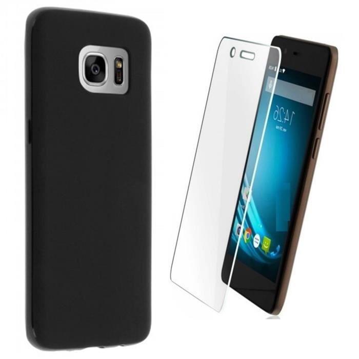 Coque Etui Housse silicone Noir SAMSUNG Galaxy S7 vitre de Protection en  Verre trempé ee3278b67c7d