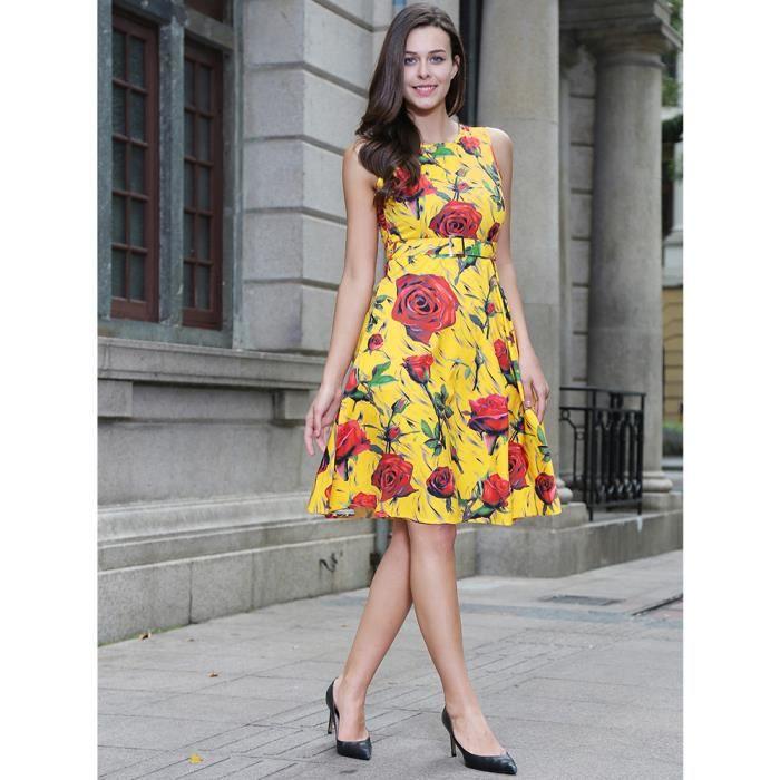 Channy® Femme Robe dété Longue Maxi en Floral Imprimé Sans Manche - JAUNE