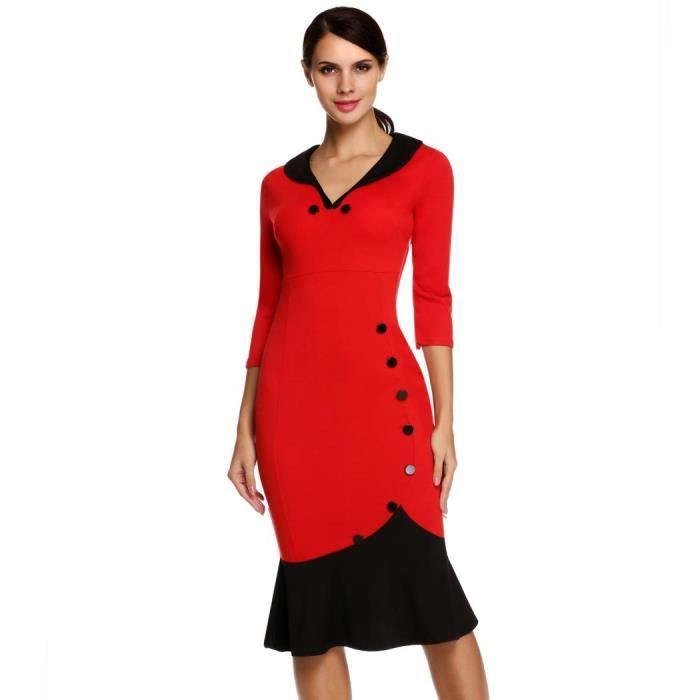 Robe femmes Casual V Col bouton manches 3-4 Slim