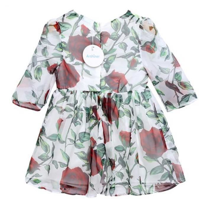 robe courte porter fille col rond 3-4 manches Floral Print a-line