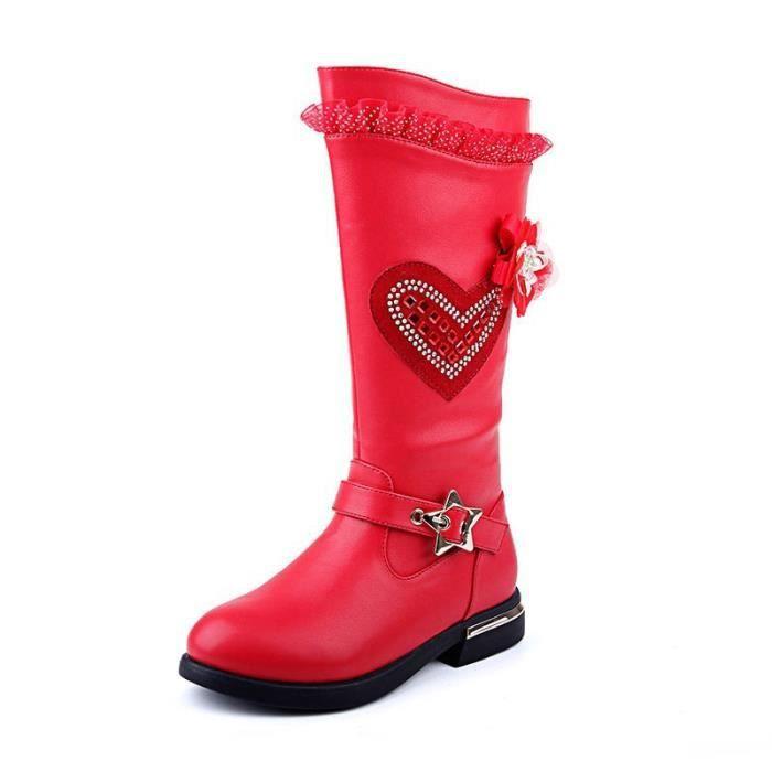 Bottes de filles Chaussures de snow à bout rond mi-mollet Hiver Enfants Martin Bottes Chaussures pour enfants pour la princesse