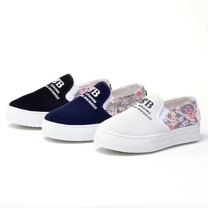 Plate-forme Chaussures de toile Femme Confort Slip Casual Flats Respirant Mocassins de haute qualité Chaussures de motif de fleurs