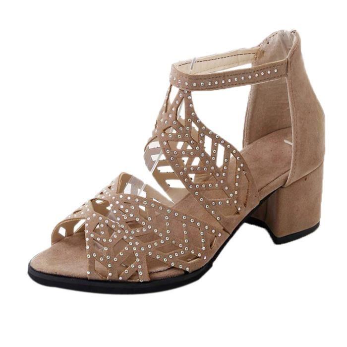 Vintage Femmes Sandales Chaussures Hauts khkai Plate Coin Chaussures Bohème Été Talons Forme 7ybfg6