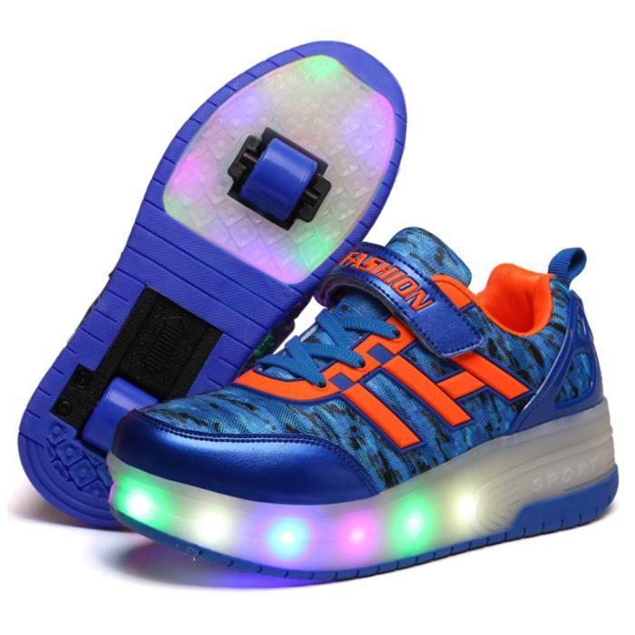 Led Chaussures Roulettes Enfants Lumiere Basket Garçon Roue Double sCthdrQ