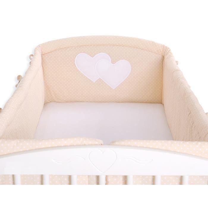 Tour de lit complet 120*60 ou 140*70 beige à pois - Achat / Vente ...