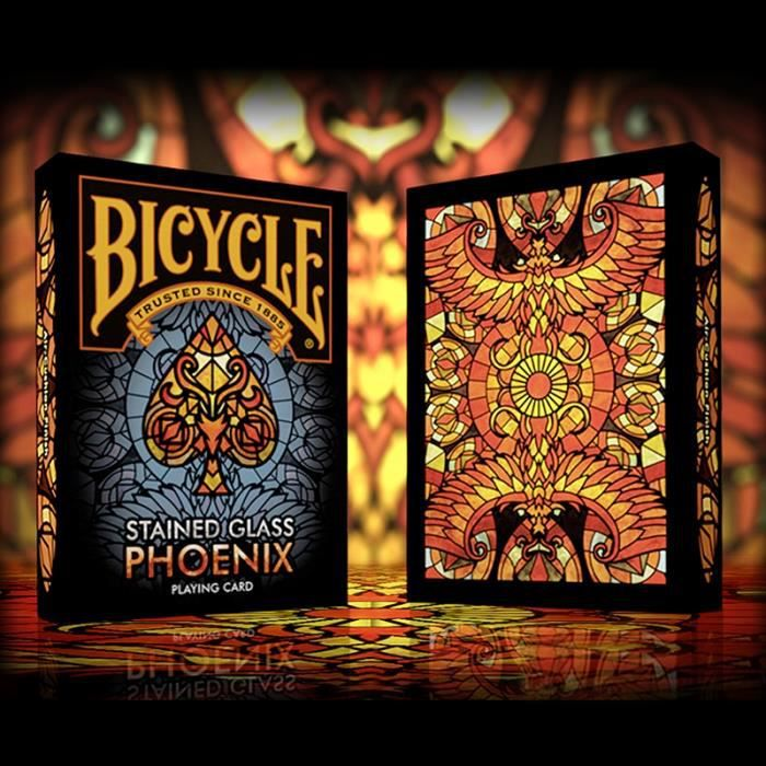 Carte Bicycle Cdiscount.Jeu De Cartes Bicycle Stained Glass Phoenix